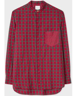 Men's Red Double-check Band-collar Cotton Shirt