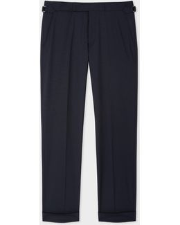 Men's Slim-fit Navy Wool Trousers With Side-adjusters