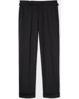 Men's Slim-fit Black Wool Trousers With Side-adjusters