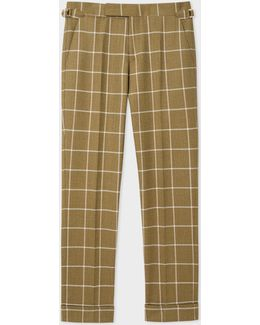 Men's Slim-fit Khaki Windowpane Check Wool Trousers With Side-adjusters