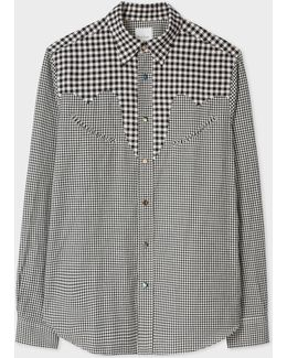 Men's Tailored-fit Black And White Gingham Shirt