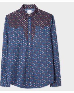 Men's Tailored-fit Navy 'tudor Rose' Print Shirt