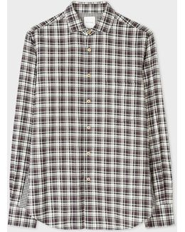 Men's Tailored-fit Black And White Double-check Shirt