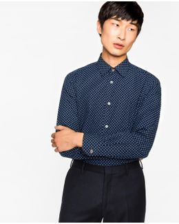 Men's Tailored-fit Navy Clover Pattern Cotton Shirt With Contrast Cuff Lining