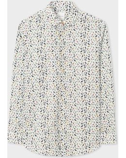 Men's Tailored-fit White 'birds' Print Contrast Cuff Shirt