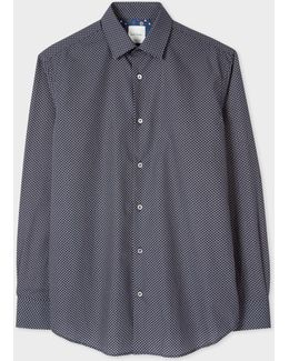 Men's Classic-fit Grey 'tie' Print Shirt With 'tudor Rose' Cuff Lining