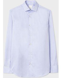 Men's Tailored-fit Light Blue Crosshatch Double-cuff Shirt