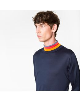 Men's Slim-fit Navy Cotton Jersey Top With 'artist Stripe' Roll Neck