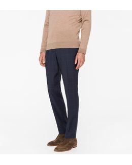 Men's Mid-fit Navy Cross-hatch Wool-silk Trousers