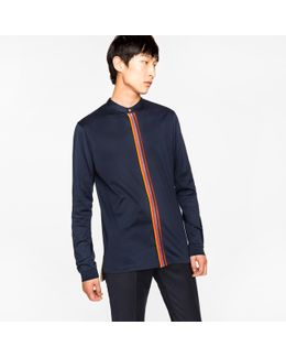 Men's Navy Mercerised-cotton Band-collar Shirt With 'artist Stripe' Placket