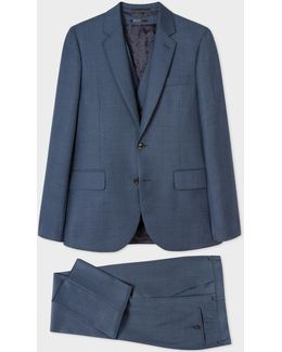 The Soho - Men's Tailored-fit Slate Blue Three-piece Wool Suit