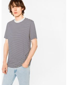 Men's Ecru And Navy Stripe Supima-cotton T-shirt