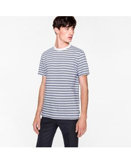 Men's White And Blue 'zig-zag' Stripe T-shirt