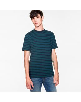 Men's Navy And Petrol 'zig-zag' Stripe T-shirt