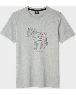 Men's Slim-fit Grey 'polygon Zebra' Print T-shirt