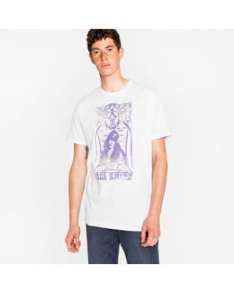 Men's White 'rock Posters' Print Cotton T-shirt