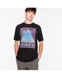 Men's Black 'good Vibes' Print Cotton T-shirt
