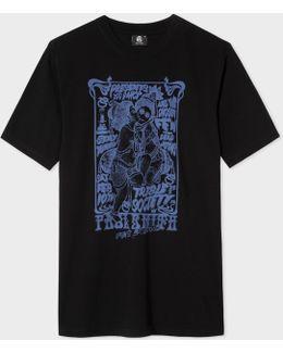Men's Black 'tribe Society' Print Cotton T-shirt