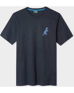 Men's Navy 'dino' Print Cotton T-shirt