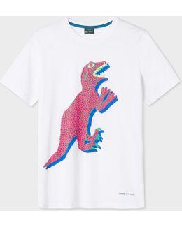 Men's White Large 'dino' Print Cotton T-shirt