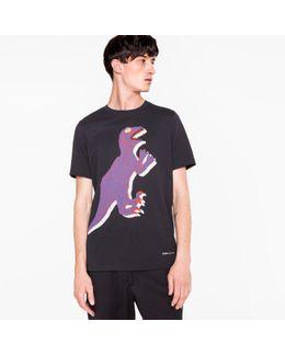 Men's Navy Large 'dino' Print Cotton T-shirt