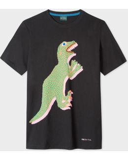 Men's Black Large 'dino' Print Cotton T-shirt