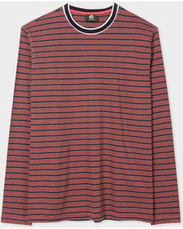 Men's Red And Petrol Stripe Long-sleeve Cotton T-shirt