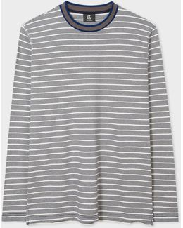 Men's Navy And White Stripe Long-sleeve Cotton T-shirt