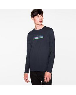 Men's Navy 'cycle Stripe' Long-sleeve T-shirt