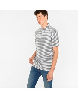 Men's Slim-fit White And Grey Marl-stripe Supima Cotton Polo Shirt