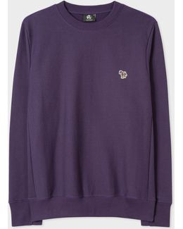 Men's Purple Organic-cotton Zebra Logo Sweatshirt