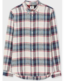Men's Tailored-fit White, Red And Blue Check Cotton-linen Button-down Shirt