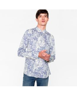 Men's Tailored-fit 'tribe Society' Print Cotton Button-down Shirt