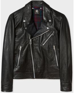Men's Black Leather Asymmetric-zip Biker Jacket