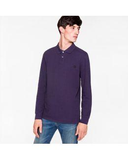 Men's Purple Ps Logo Long-sleeve Polo Shirt