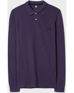 Men's Purple Ps Logo Long-sleeve Polo Shirt