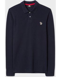 Men's Dark Navy Organic-cotton Zebra Logo Long-sleeve Polo Shirt