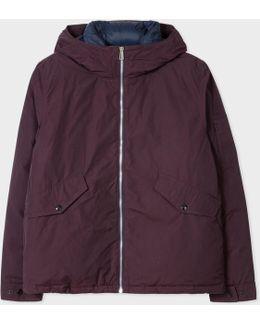 Men's Mauve Cotton-blend Down-filled Hooded Jacket