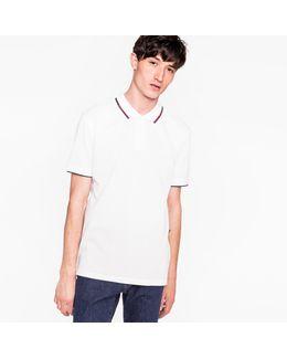 Men's White Cotton-piqué Polo Shirt With Collar Tipping