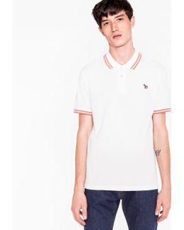 Men's White Cotton-piqué Zebra Logo Polo Shirt With Collar Tipping