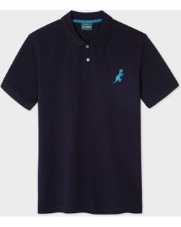 Men's Navy Cotton-piqué Embroidered 'dino' Polo Shirt