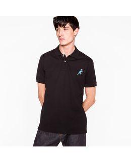 Men's Black Cotton-piqué Embroidered 'dino' Polo Shirt