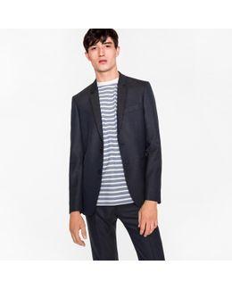 Men's Slim-fit Navy Wool-hopsack Blazer