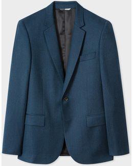 Men's Mid-fit Dark Blue Marl Wool Blazer