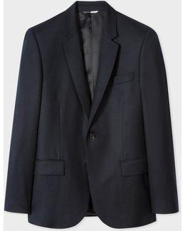 Men's Mid-fit Dark Navy Wool Blazer
