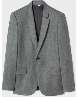 Men's Mid-fit Grey Marl Wool Blazer