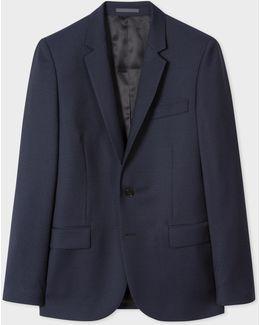 Men's Mid-fit Dark Navy 'irregular Spot' Wool Blazer