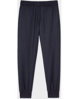 Men's Navy Wool Drawstring Trousers