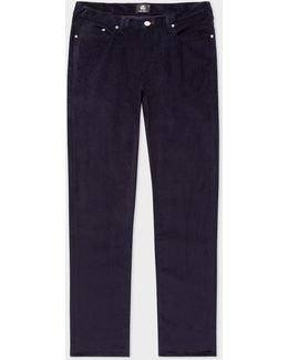Men's Tapered-fit Navy Stretch-cotton Corduroy Trousers