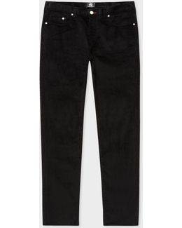 Men's Tapered-fit Black Stretch-cotton Corduroy Trousers